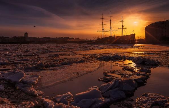 Картинка льдины, гавань, закат в городе, парусный корабль