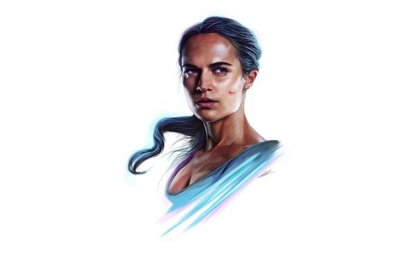 Картинка рисунок, портрет, арт, белый фон, Tomb Raider, Лара Крофт, Алисия Викандер, Alicia Vikander, Tomb Raider: …