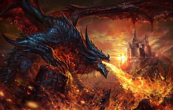 Картинка замок, огонь, дракон, фэнтези, арт, li fengyang, dalong