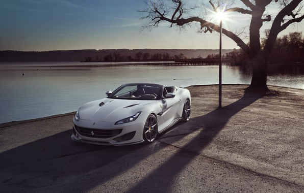 Картинка машина, вода, солнце, Ferrari, Portofino, Novitec