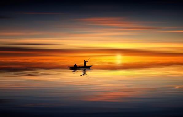 Картинка море, закат, гладь, люди, лодка, штиль, силуэты