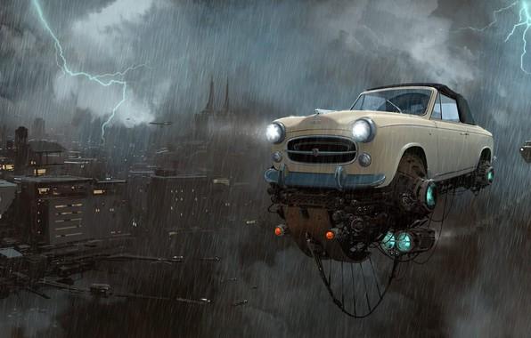 Картинка Небо, Авто, Рисунок, Город, Машина, Дождь, Мир, City, Молнии, World, Fantasy, Sky, Автомобиль, Арт, Art, …