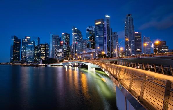Картинка мост, здания, залив, Сингапур, ночной город, небоскрёбы, Singapore, Marina Bay, Jubilee Bridge