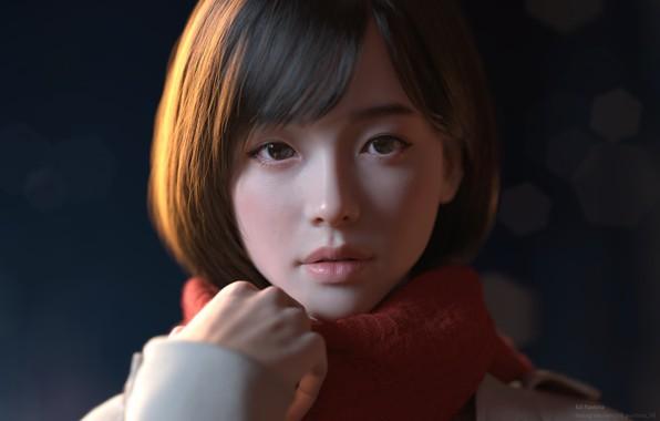 Картинка девушка, японка, япония, аниме, girl, Winter, japan, Yeon