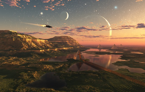 Картинка свобода, облака, полет, пространство, будущее, планеты, красота, озера, future, space, другие миры, flight, freedom, clouds, …