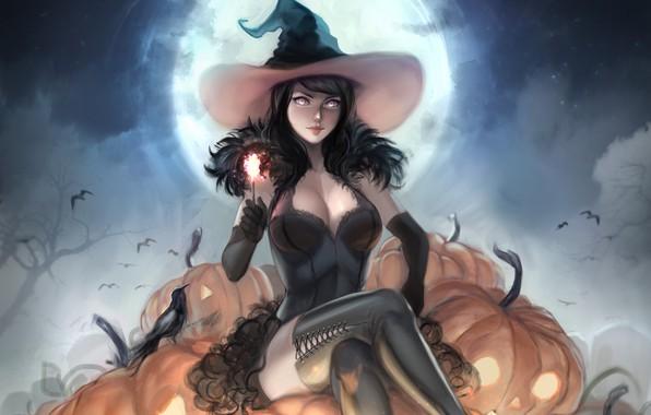 Картинка девушка, шляпа, тыква, ведьма, хеллоуин