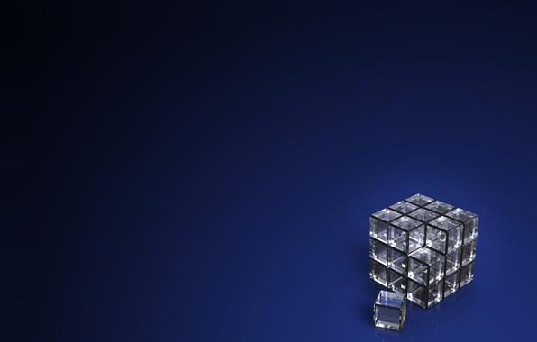 Картинка компьютерная графика, темно-синий фон, dark blue background, computer graphics, transparent cube, прозрачный куб
