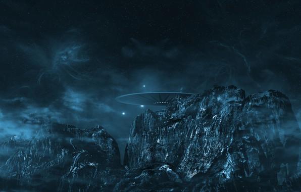 Картинка энергия, космос, звезды, облака, пейзаж, горы, ночь, природа, огни, темнота, фантастика, скалы, молнии, корабль, НЛО, …