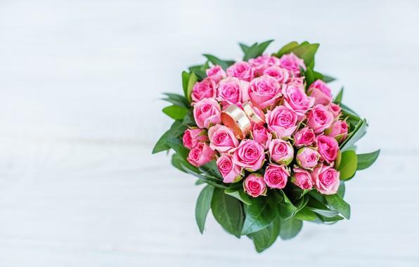 Картинка праздник, розы, букет, кольца, свадьба