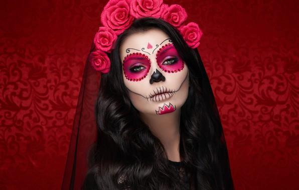 Картинка девушка, макияж, Halloween, грим, Oleg Gekman