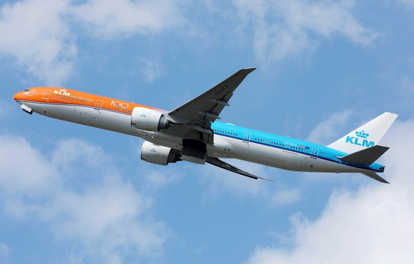 Картинка самолет, фото, Boeing, KLM Orange livery b777