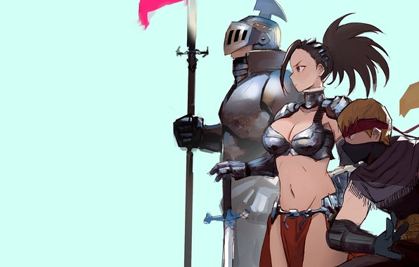 Картинка girl, sword, armor, anime, weapons, digital art, warrior, fantasy art, knight, helmet, spear, simple background, …