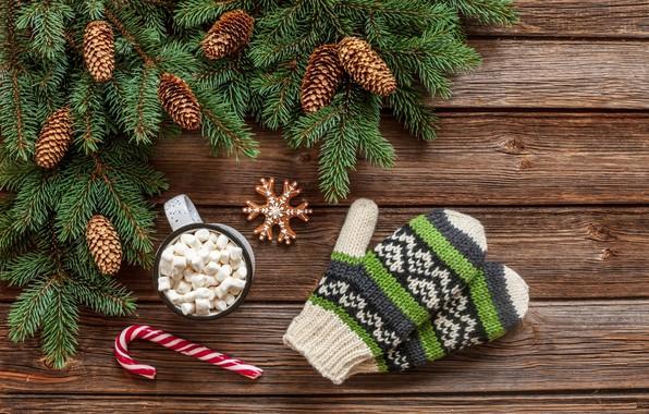 Картинка украшения, Новый Год, Рождество, кружка, Christmas, wood, варежки, cup, New Year, decoration, xmas, Merry, fir …