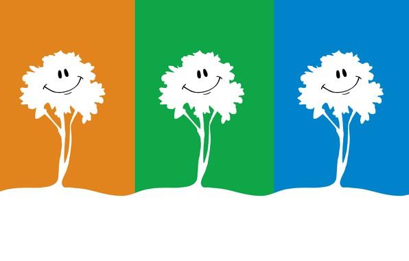 Картинка деревья, природа, улыбка, дерево, рисунок, графика, три, яркие цвета, трое, улыбки, сочные цвета, троица, многоцветие