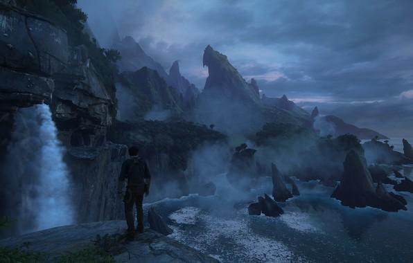 Картинка скалы, рассвет, остров, джунгли, Naughty Dog, Playstation 4, Uncharted 4: A Thief's End, Нэйтан Дрейк