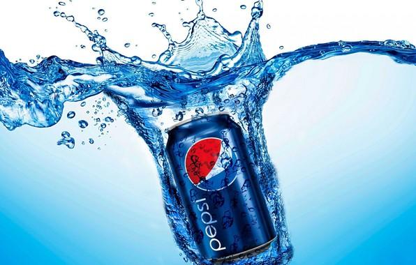 Картинка вода, брызги, банка, напиток, cola, pepsi, кола, drink, газировка, пепси, pepsi-cola, пепси-кола