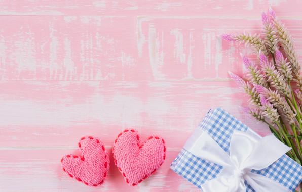 Картинка любовь, цветы, подарок, сердце, love, wood, pink, flowers, romantic, hearts, gift, valentine