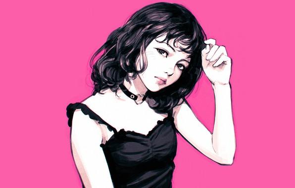 Картинка стрижка, черное платье, розовый фон, портрет девушки, чокер, Кувшинов Илья