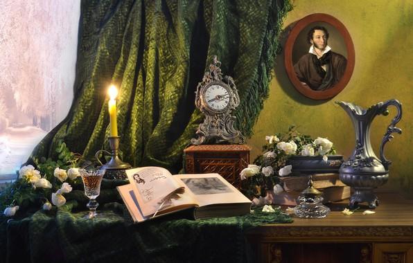 Картинка цветы, стол, перо, бокал, портрет, розы, свеча, окно, книга, кувшин, портьера, Пушкин, Валентина Колова