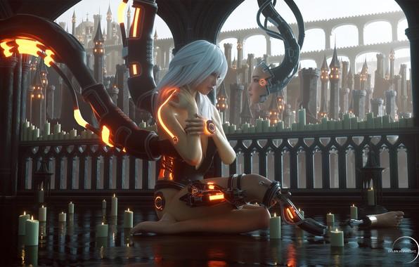 Картинка провода, свечи, ограда, башни, киборг, андроид, на полу, белые волосы, свет в окнах, акведук, будушее