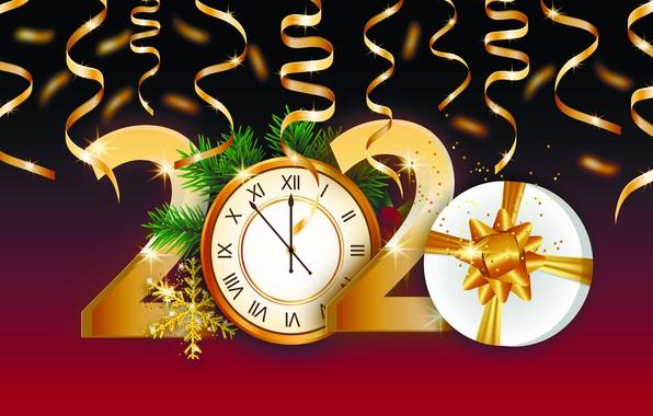 Картинка фото, Часы, Снежинки, Новый год, Подарки, 2020, Векторная графика