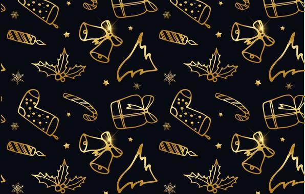 Картинка украшения, фон, золото, черный, Новый Год, Рождество, golden, black, Christmas, background, New Year, decoration, xmas, …