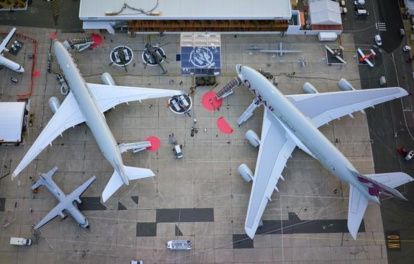 Картинка Самолет, Широкофюзеляжный, Дальнемагистральный, Qatar Airways, Airbus A380, Airbus A350 XWB, CASA C-295