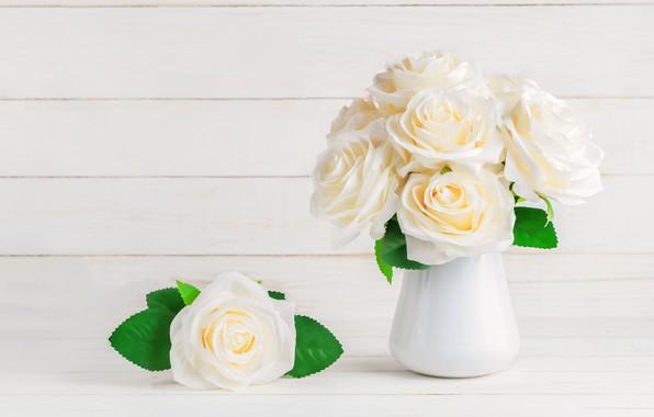 Картинка цветы, розы, букет, white, белые, flowers, beautiful, roses