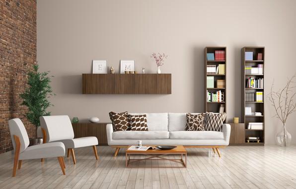 Картинка диван, интерьер, кресла, библиотека, design, modern, apartment, стеллажи