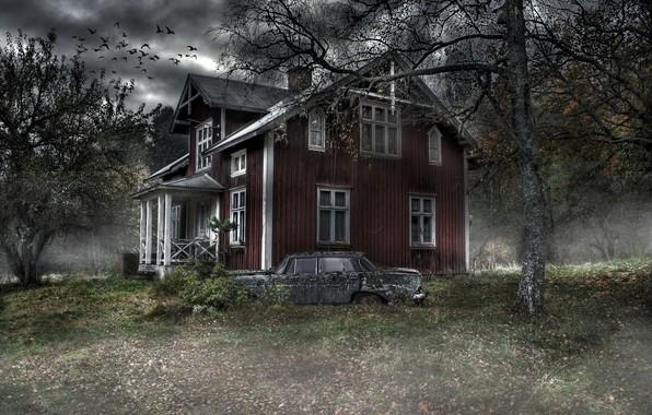 Картинка машина, дом, дерево