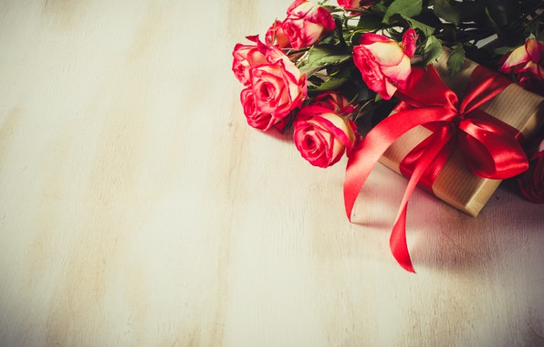 Картинка любовь, подарок, розы, букет, лента, красные, red, love, flowers, romantic, valentine's day, roses, gift box
