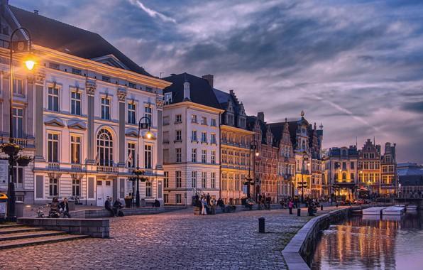 Картинка река, здания, дома, Бельгия, набережная, Belgium, Гент, Ghent, Река Лейе, Leie River