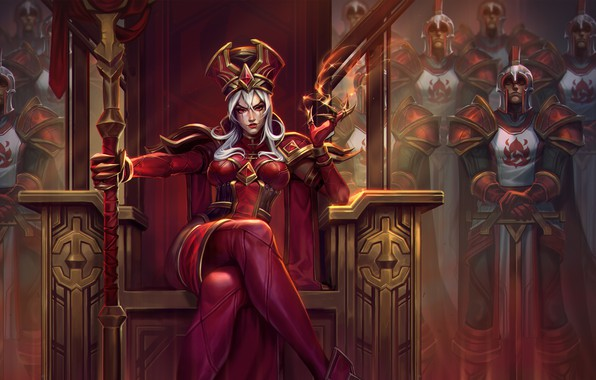 Картинка girl, sword, World of Warcraft, fantasy, game, Warcraft, soldiers, armor, crown, red eyes, weapons, queen, …