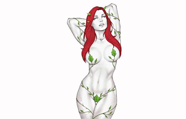Картинка эротика, листья, девушка