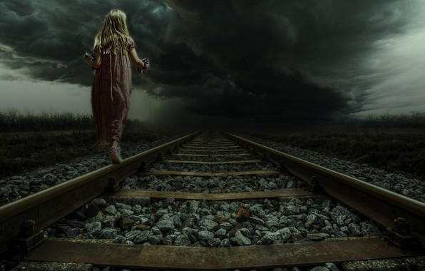 Картинка Облака, Дорога, Тучи, Girl, Гроза, Девочка, Пути, Пейзаж, Рельсы, Clouds, Арт, Art, Landscape, Road, Rails, …