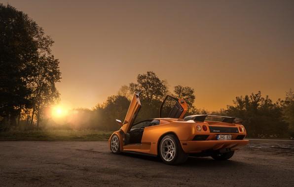 Картинка закат, вечер, Lamborghini, суперкар, Diablo, Diablo VT, by Arnoldas Ivanauskas