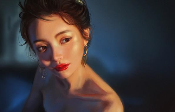 Картинка Девушка, Рисунок, Взгляд, Лицо, Girl, Брюнетка, Серьги, Арт, Art, Brunette, Beauty, Красивая, Face, Look, Brown …