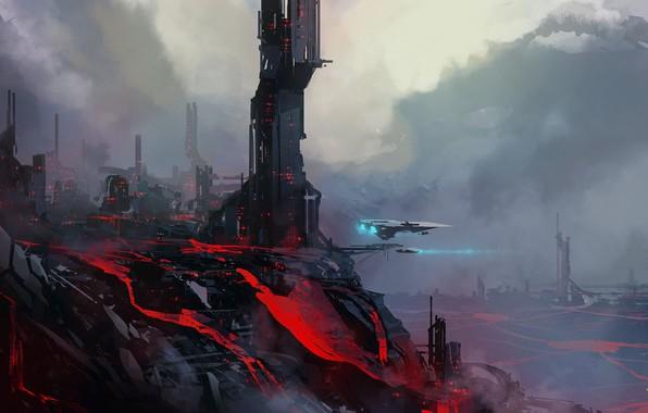 Картинка city, fantasy, science fiction, spaceship, sci-fi, artist, digital art, lava, buildings, artwork, fantasy art, volcano, …
