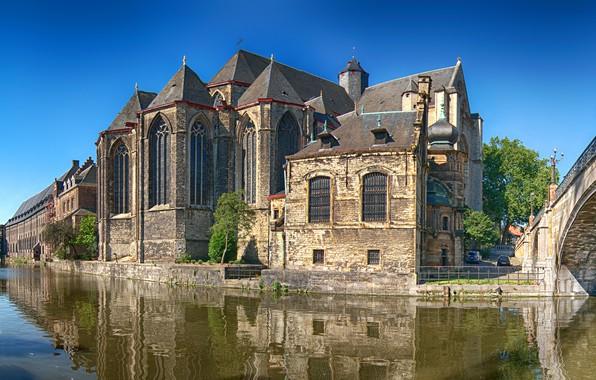 Картинка небо, вода, солнце, деревья, мост, отражение, дома, канал, храм, Бельгия, Gent