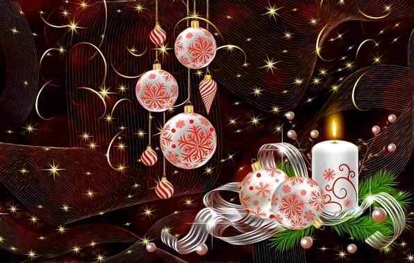 Картинка свет, темный фон, рендеринг, праздник, завитушки, свеча, Новый Год, Рождество, лента, картинка, елочные украшения, жемчужные …