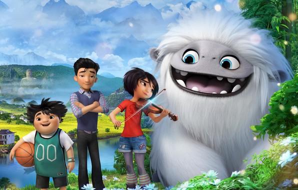 Картинка облака, дети, мультик, йети, Мультфильм, Эверест, Abominable