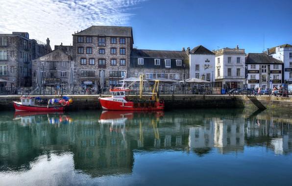 Картинка небо, вода, солнце, облака, отражение, река, Англия, HDR, дома, канал, катера, Plymouth, Barbican