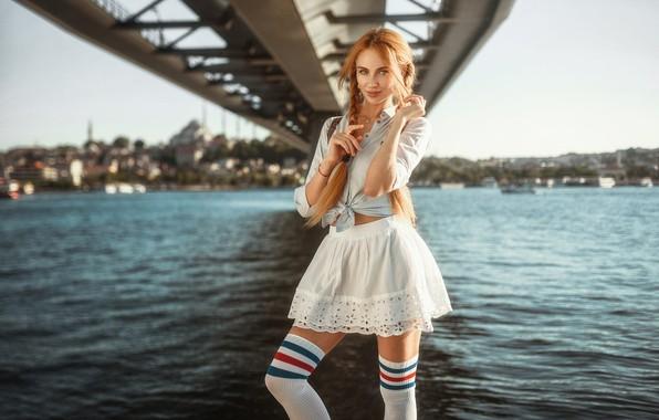 Картинка girl, Model, legs, bridge, photo, stockings, blue eyes, redhead, necklace, shirt, skirt, portrait, pigtails, looking …