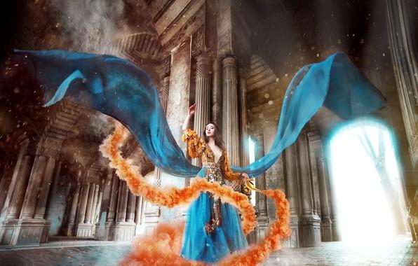 Картинка дым, Девушка, платье, Мария Липина