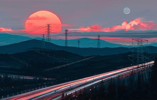 Картинка закат, рисунок, шоссе, арт, art, Aenami, by Aenami, Alena Aenami, by Alena Aenami, Away In …