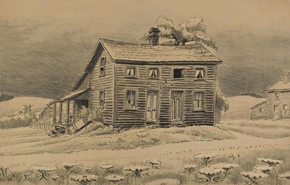 Картинка дом, Charles Ephraim Burchfield, Lonely House