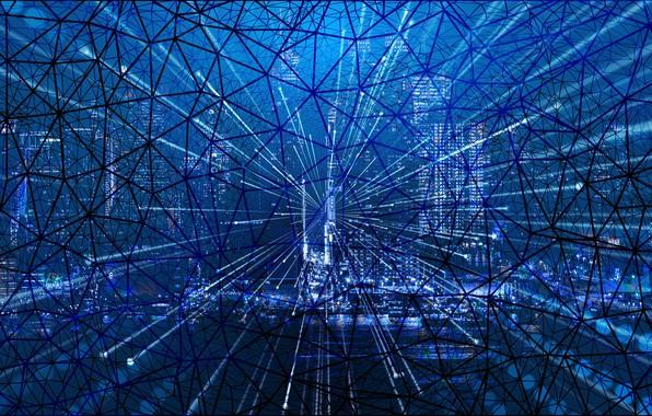 Картинка город, сеть, паутина, интернет, web