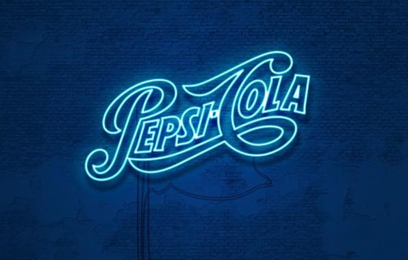 Картинка стена, неон, wall, напиток, cola, pepsi, кола, drink, газировка, пепси, неоновое свечение, pepsi-cola, пепси-кола