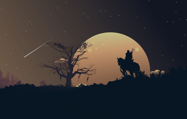 Картинка moon, fantasy, game, The Witcher, landscape, night, stars, tree, horse, weapons, digital art, artwork, warrior, …