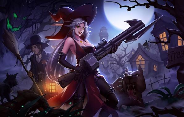 Картинка Girl, Moon, Fantasy, Dog, Art, Style, Night, Cat, Illustration, Weapon, Minimalism, Witch, Wizard, Character, Yang …